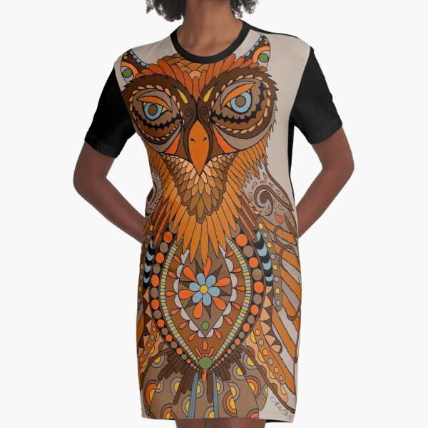 Owl - brown orange Graphic T-Shirt Dress