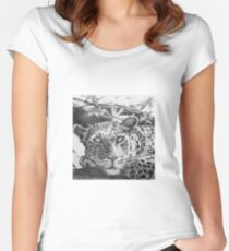 Leopard Pencil Drawing Women's Fitted Scoop T-Shirt