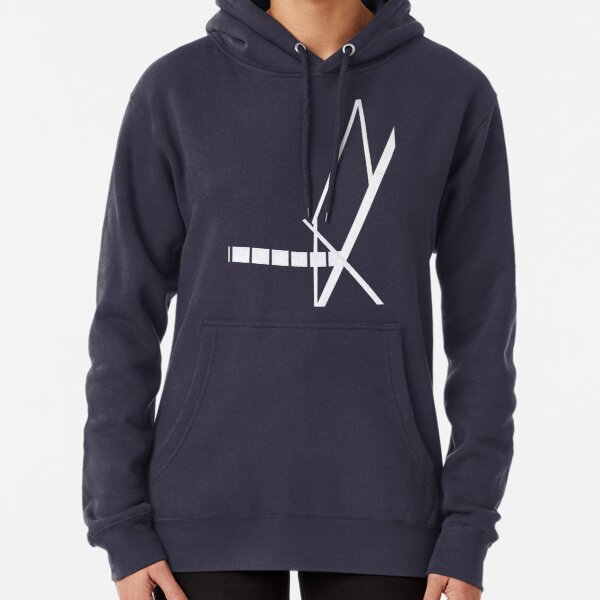 Signal white and black Pullover Hoodie