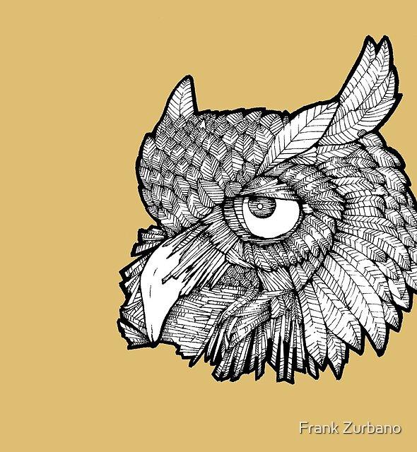 Owl Head - Black & White by Frank Zurbano