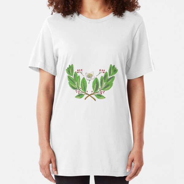 Yerba Mate Flower Leaf and Fruit Drawing Slim Fit T-Shirt