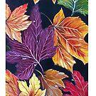 Autumn Leaves White Stripe by Linda Callaghan
