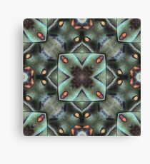 Geometric Verdigris Teal, Orange and Gold Pattern - 3D Macro Photo Collage Canvas Print