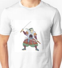 Samurai Warrior Fighting Stance Mono Line Unisex T-Shirt