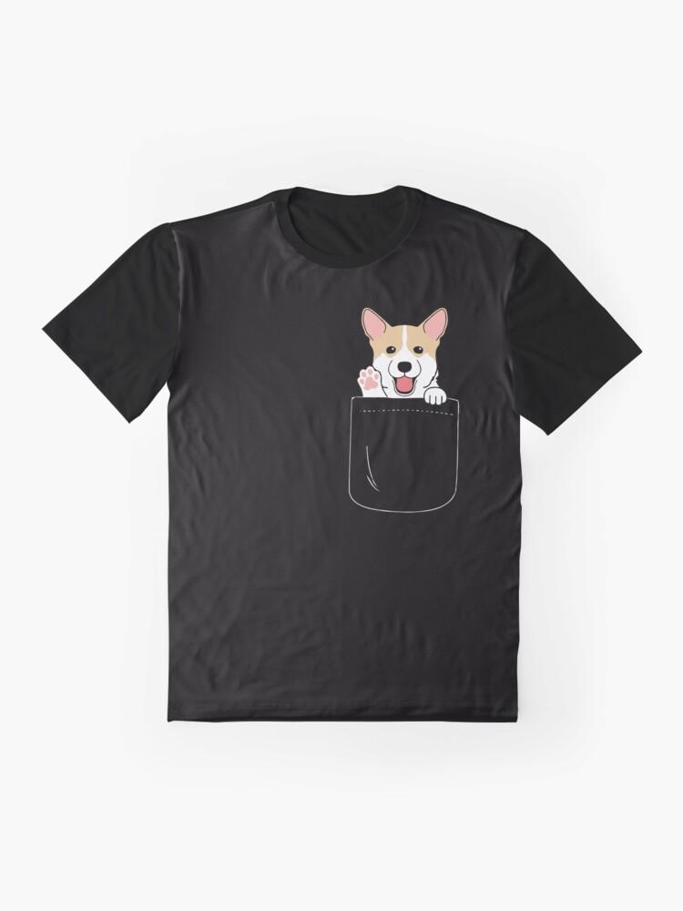 Alternate view of Corgi In Pocket T-Shirt Cute Paws Blush Smile Puppy Emoji  Graphic T-Shirt