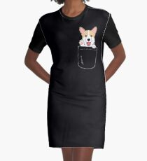 Corgi In Pocket T-Shirt Cute Paws Blush Smile Puppy Emoji  Graphic T-Shirt Dress