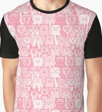 Pink Cartoon Cats Print Graphic T-Shirt