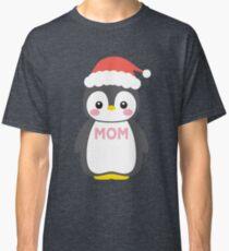 Santa Hat Penguin Mom Christmas Funny Pajamas Gift Classic T-Shirt