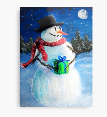 Cute Happy Snowman Holding Gift - Folk Painting- Holiday Card, Cristmas Card, Greeting Card, Metal Print