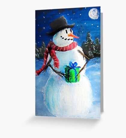 Cute Happy Snowman Holding Gift - Folk Painting- Holiday Card, Cristmas Card, Greeting Card, Greeting Card