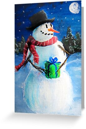 Cute Happy Snowman Holding Gift - Folk Painting- Holiday Card, Cristmas Card, Greeting Card, by Leah McNeir