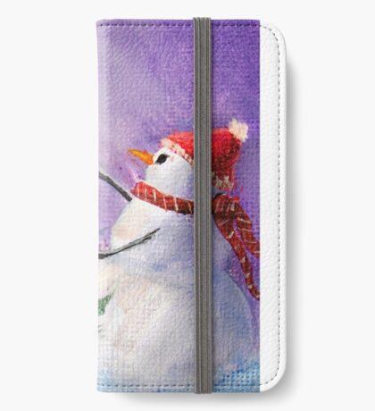 Cute Snowman Decorates ChristmasTree Folk Art Painting  -  Holiday Card, Cristmas Card, Greeting Card, Postcard iPhone Wallet