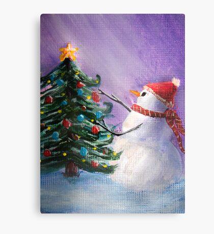 Cute Snowman Decorates ChristmasTree Folk Art Painting  -  Holiday Card, Cristmas Card, Greeting Card, Postcard Metal Print