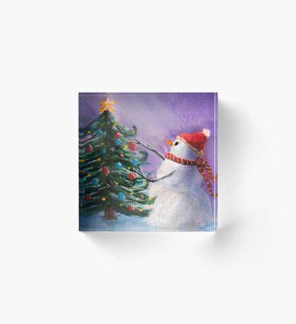 Cute Snowman Decorates ChristmasTree Folk Art Painting  -  Holiday Card, Cristmas Card, Greeting Card, Postcard Acrylic Block