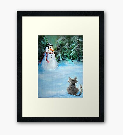 Cute Happy Snowman & Cat in Winter - Folk Painting - Holiday Card, Cristmas Card, Greeting Card, Winter Card, Snowman Card, Greeting Card, Postcard Framed Print