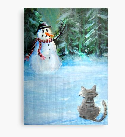 Cute Happy Snowman & Cat in Winter - Folk Painting - Holiday Card, Cristmas Card, Greeting Card, Winter Card, Snowman Card, Greeting Card, Postcard Metal Print