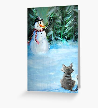 Cute Happy Snowman & Cat in Winter - Folk Painting - Holiday Card, Cristmas Card, Greeting Card, Winter Card, Snowman Card, Greeting Card, Postcard Greeting Card