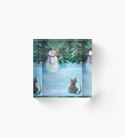 Cute Happy Snowman & Cat in Winter - Folk Painting - Holiday Card, Cristmas Card, Greeting Card, Winter Card, Snowman Card, Greeting Card, Postcard Acrylic Block