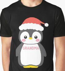 Santa Hat Penguin Grandma Christmas Funny Pajamas Graphic T-Shirt