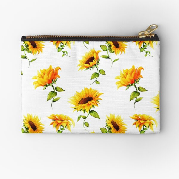 Sunflowers on white Zipper Pouch