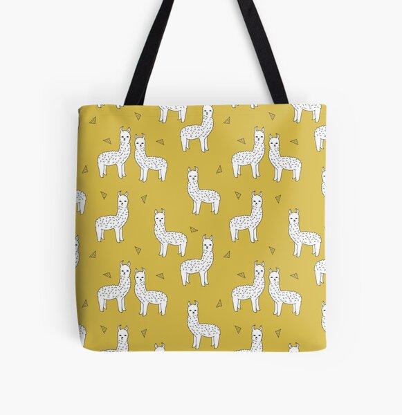 Alpaca - Mustard by Andrea Lauren All Over Print Tote Bag
