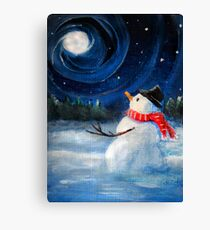 Snowman Gazes at Night Sky & Moon - Folk Painting - Holiday Card, Cristmas Card, Greeting Card, Winter Card, Snowman Card, Greeting Card, Postcard Canvas Print
