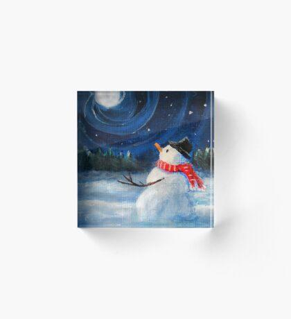 Snowman Gazes at Night Sky & Moon - Folk Painting - Holiday Card, Cristmas Card, Greeting Card, Winter Card, Snowman Card, Greeting Card, Postcard Acrylic Block