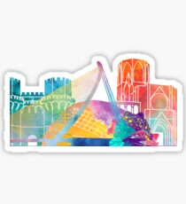 Valencia landmarks watercolor poster Sticker