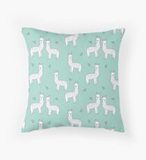 Alpaca - Mint by Andrea Lauren Throw Pillow