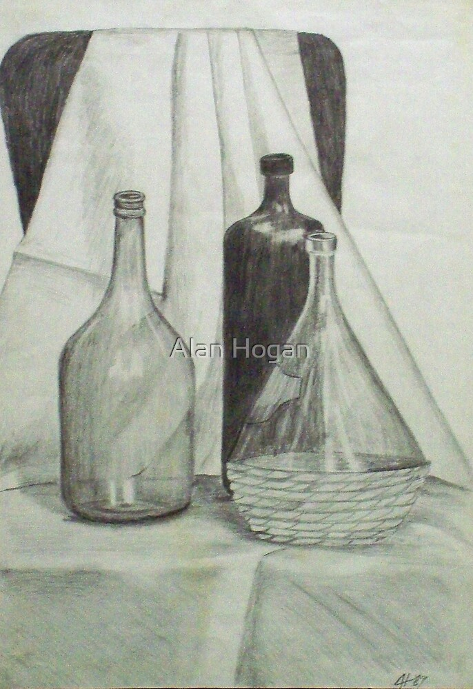 Still-life with bottles by Alan Hogan