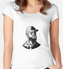 Bearded Chef Scratchboard  Women's Fitted Scoop T-Shirt