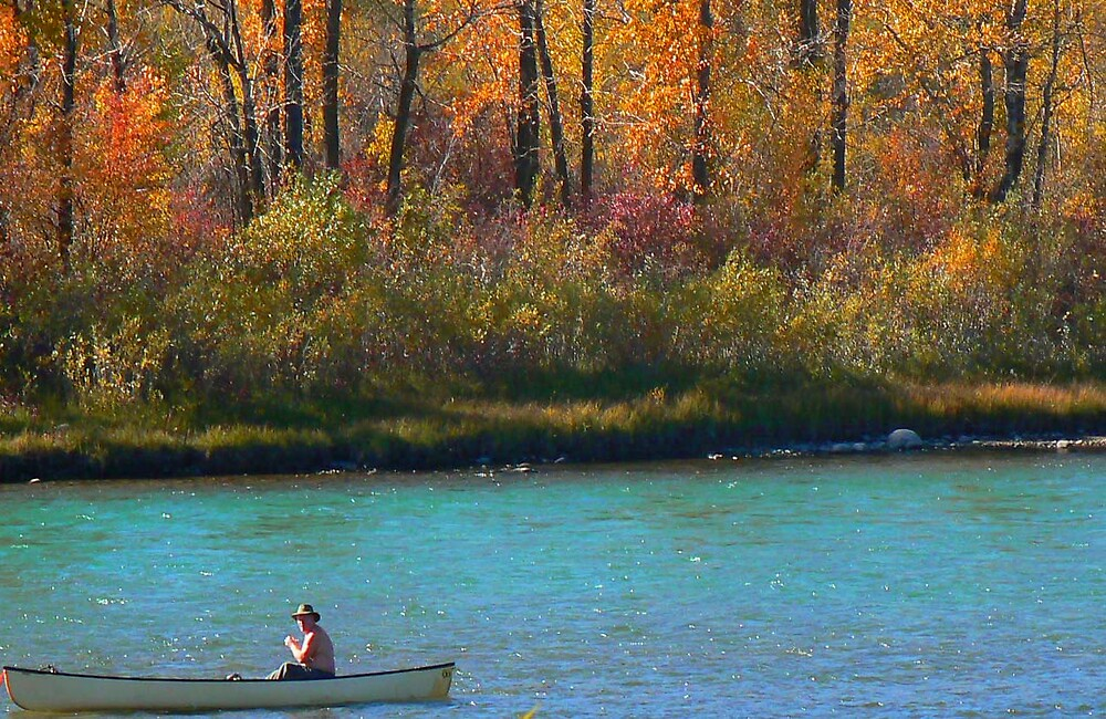 Canoe on the Bow River by BRIAN LEWIS