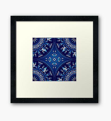 Buffalo Gathering Blue Framed Print