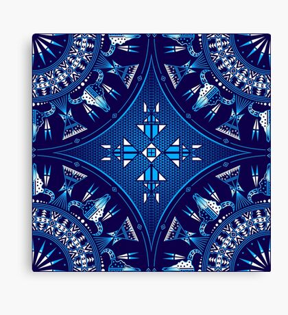 Buffalo Gathering Blue Canvas Print