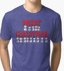 Snowmen Merry Christmas Tri-blend T-Shirt