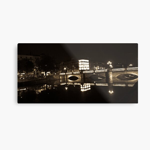 Dublin's O'Connell St Bridge at night Metal Print