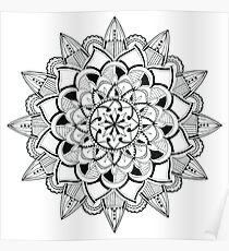 Mandala ink drawing - partly transparent Poster