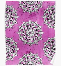Mandalas on pink wc background repeat Poster