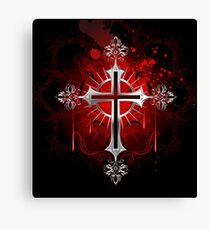 Gothic silver cross ( Silver crosses ) Canvas Print