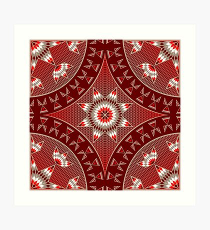 Morning Star with Tipi's (Red) Art Print