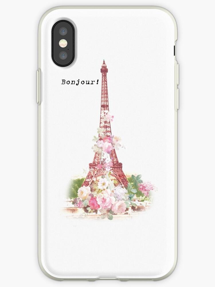 2b2ff4791777 'Vintage girly pink flowers Paris Eiffel Tower ' iPhone Case by Kicksdesign