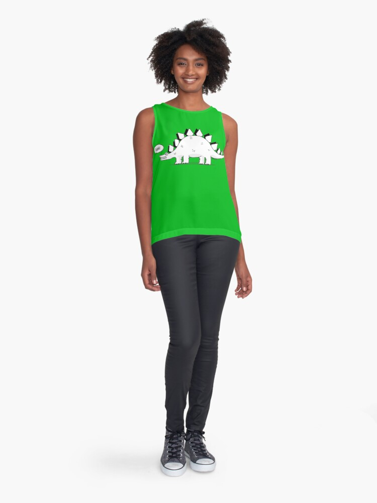 Alternate view of Cartoon Stegosaurus Sleeveless Top