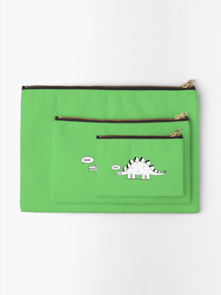 Alternate view of Cartoon Stegosaurus Zipper Pouch