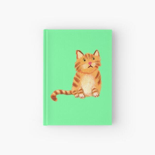 Ginger Cat on green Hardcover Journal