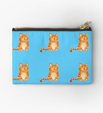 Ginger Cat on blue Studio Pouch