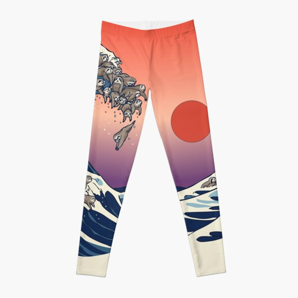 The Great Wave of Sloth Leggings