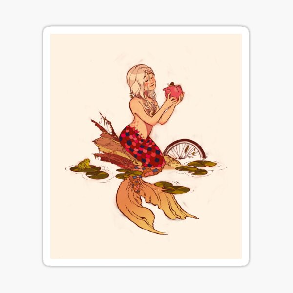 River Mermaid with Teapot Sticker