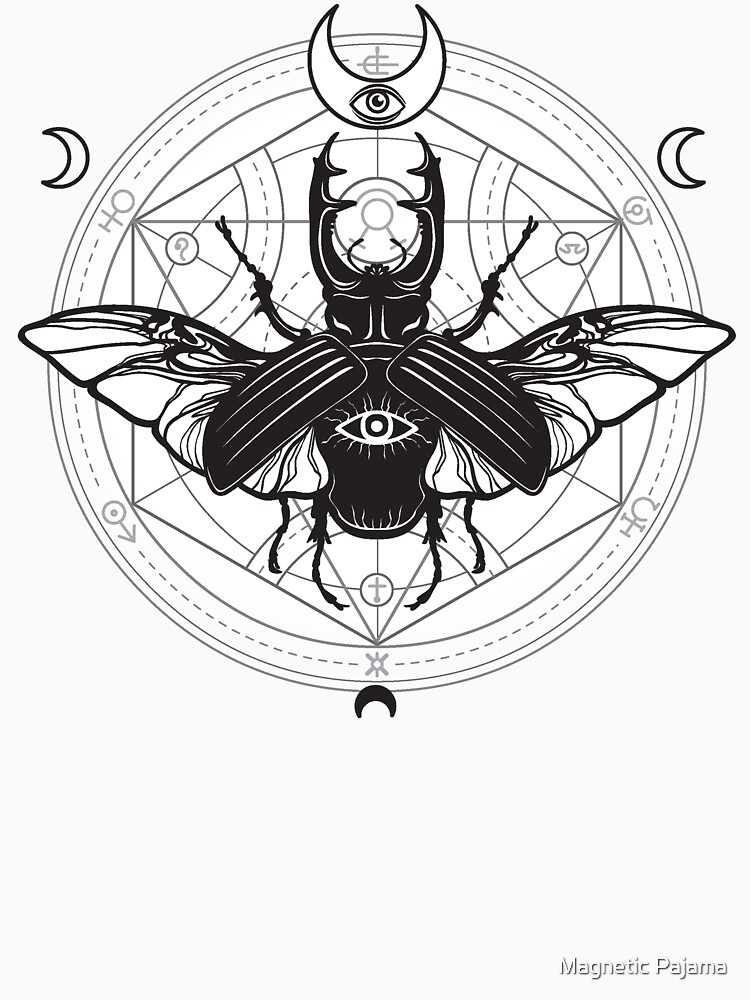 Beetle with Sacred Geometry, All-Seeing Eye and Crescent Moons  by MagneticMama