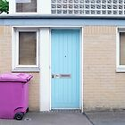 Blue door and purple bin by Ana Andres-Arroyo