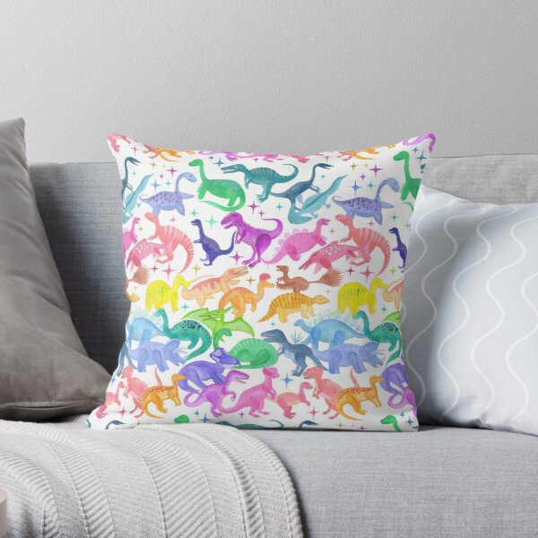 Roarsome Rainbow Dinosaur Alphabet Throw Pillow